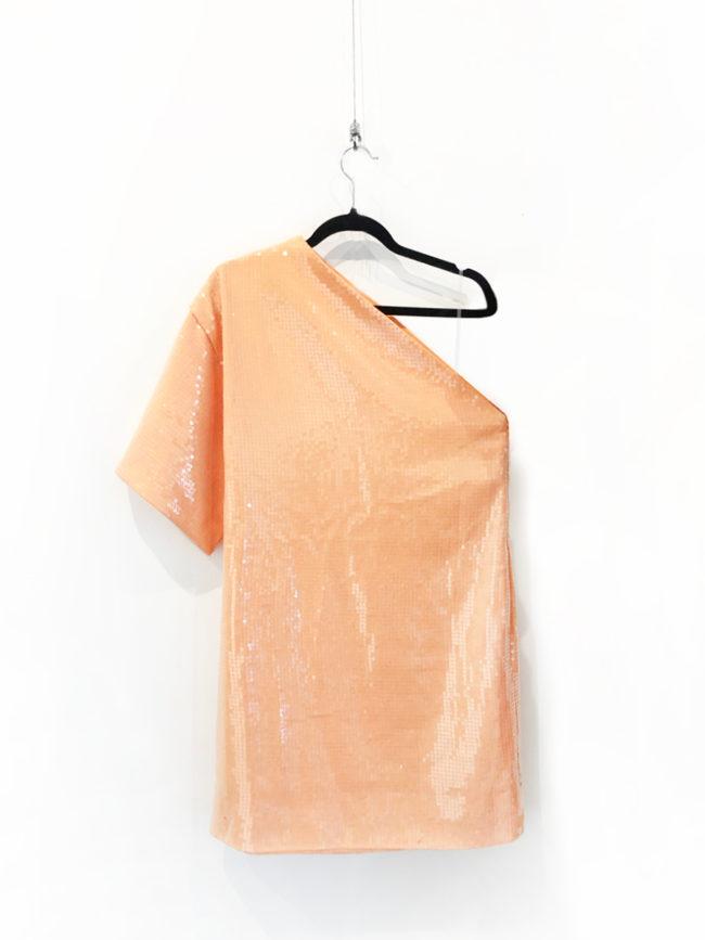 AQUA Peach Sequin One Shoulder Dress Brooklyn + Stellar Designer + Vintage Fashion Hire Melbourne