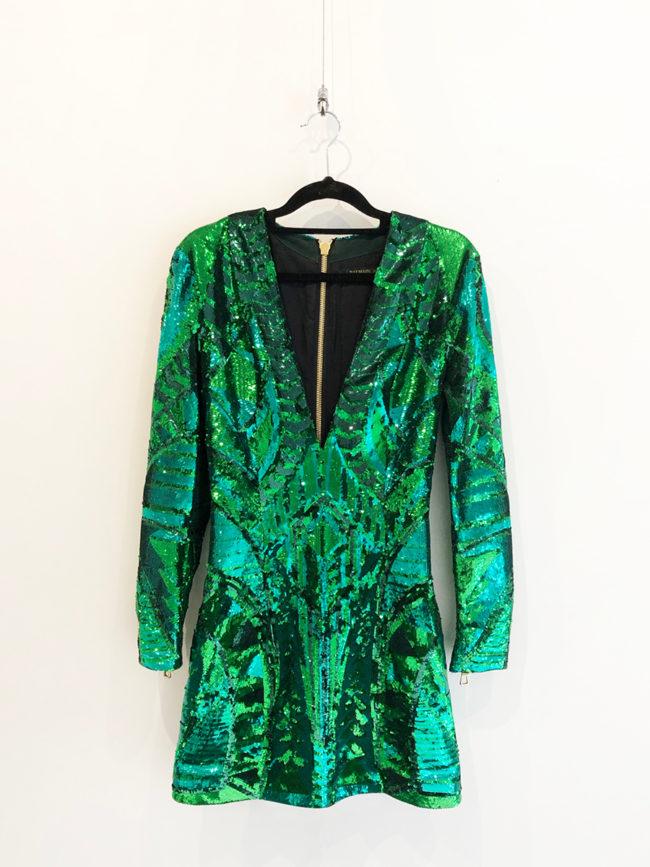 Balmain Green Sequin Dress Brooklyn + Stellar Designer + Vintage Fashion Hire Melbourne