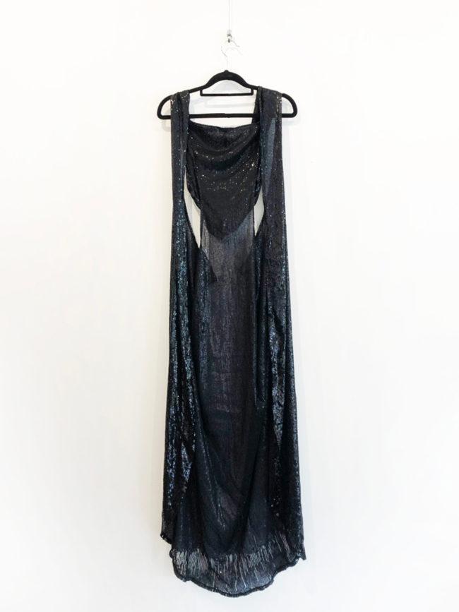 Black Sequin Cape Brooklyn + Stellar Designer + Vintage Fashion Hire Melbourne