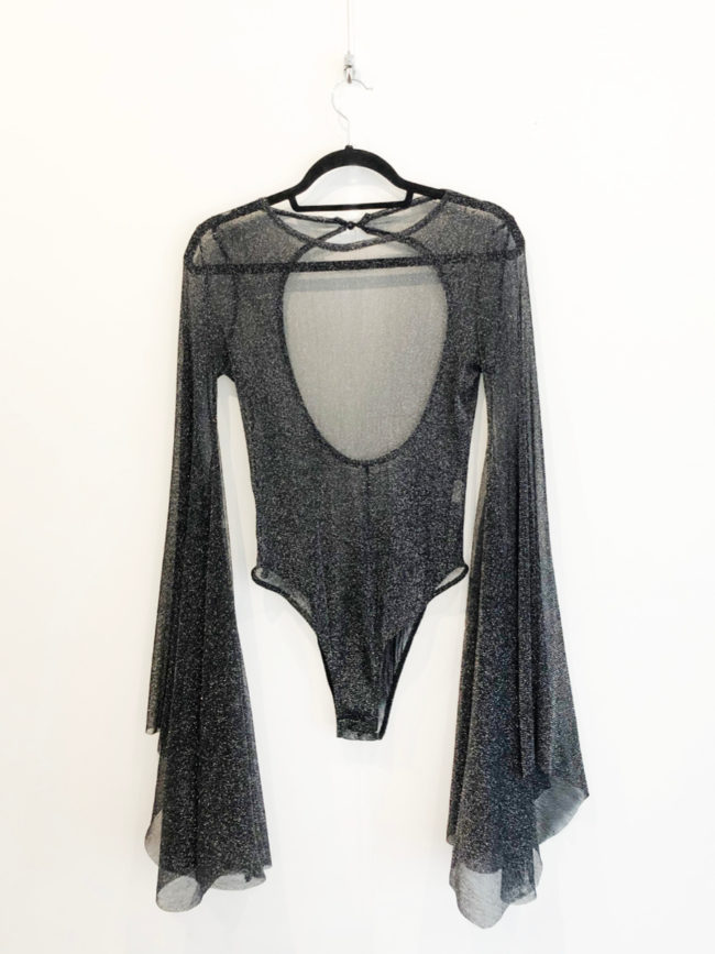 Black & Silver Sheer Glitter Bodysuit Brooklyn + Stellar Designer + Vintage Fashion Hire Melbourne