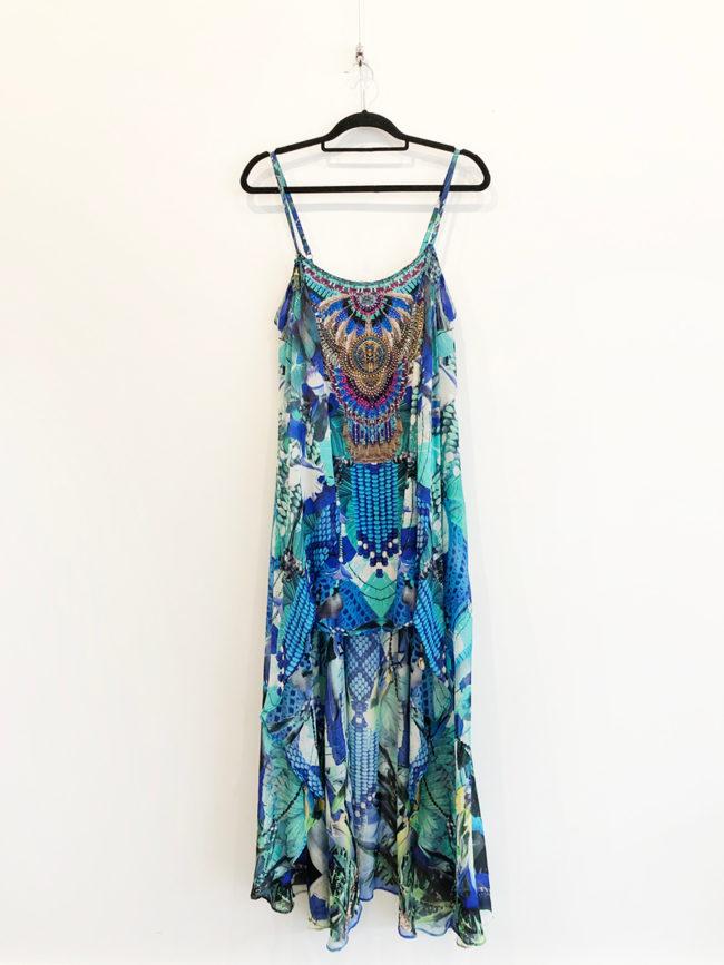 Camilla Blue Print Dress Brooklyn + Stellar Designer + Vintage Fashion Hire Melbourne