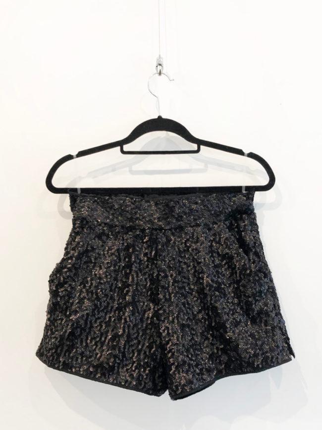 Karl Lagerfeld Black Sequin High Waisted Shorts Brooklyn + Stellar Designer + Vintage Fashion Hire Melbourne