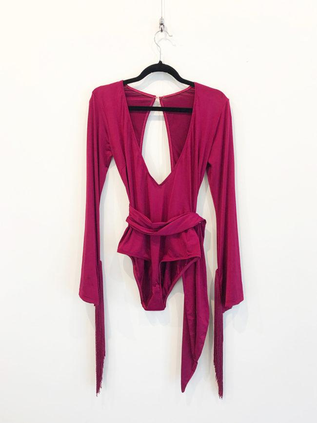 Magenta Fringe Sleeve Bodysuit Brooklyn + Stellar Designer + Vintage Fashion Hire Melbourne