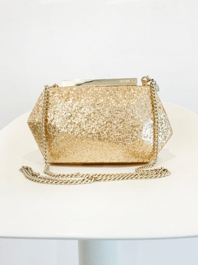 Mimco Gold Glitter Hand Bag Brooklyn + Stellar Designer + Vintage Fashion Hire Melbourne