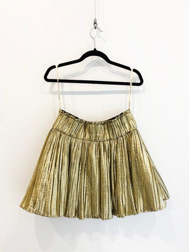 Sass & Bide Metallic Gold Crepe Skirt Brooklyn + Stellar Designer + Vintage Fashion Hire Melbourne