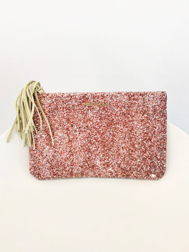 Sass & Bide Pink Glitter Clutch with Leather Tassle Brooklyn + Stellar Designer + Vintage Fashion Hire Melbourne