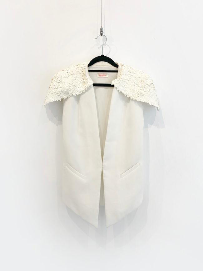 Sass & Bide White Sequin Statement Shoulder Jacket Brooklyn + Stellar Designer + Vintage Fashion Hire Melbourne