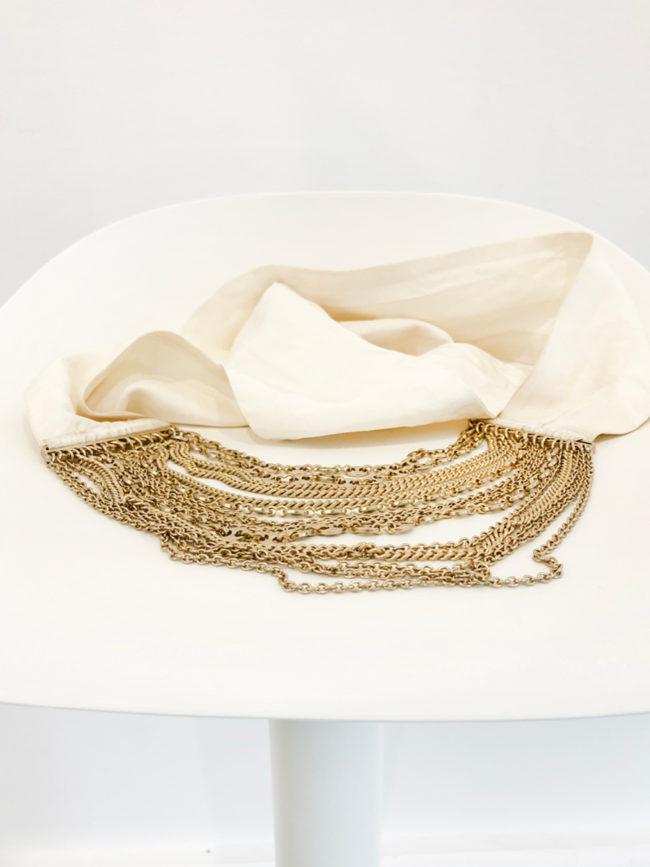 Sass & Bide White Silk Gold Chain Belt Brooklyn + Stellar Designer + Vintage Fashion Hire Melbourne