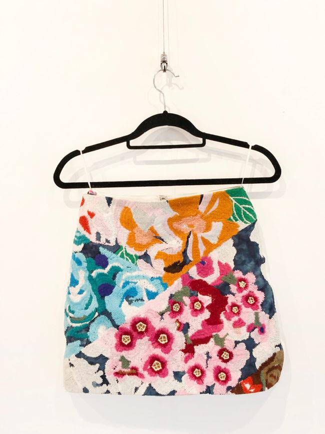 Shakuhachi Floral & Leather Skirt Brooklyn + Stellar Designer + Vintage Fashion Hire Melbourne